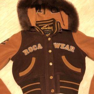 New ROCAWEAR Fox Fur Hooded Wool Jacket/Coat S